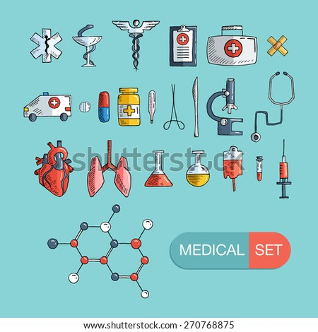 Health care and medicine icon set. Vector hand drawn illustrations. - stock vector