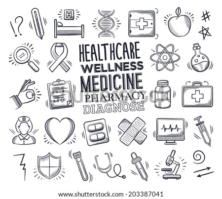 Health care and medicine icon set with typography. Vector doodle illustrations.  - stock vector