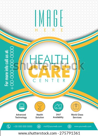 Health Care Center Flyer presentation with place holder for image and content. - stock vector