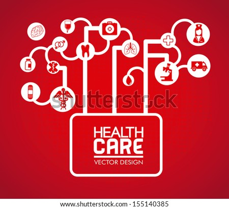 health care design over red background vector illustration - stock vector