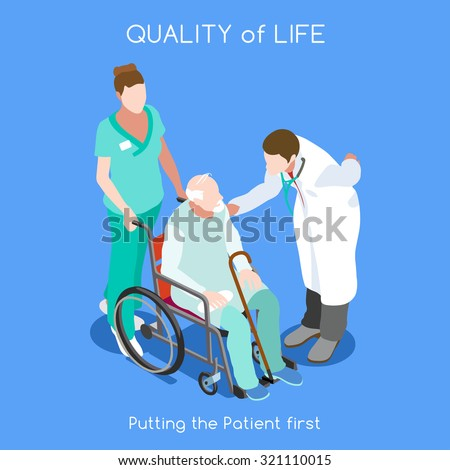 Health Care Medical Doctor and Patient Infographic. Clinic Hospital Facility Patient Hospitalization. Nurse and Patient Wheelchair. Medical health care 3D Flat Isometric People nurse Vector Image. - stock vector