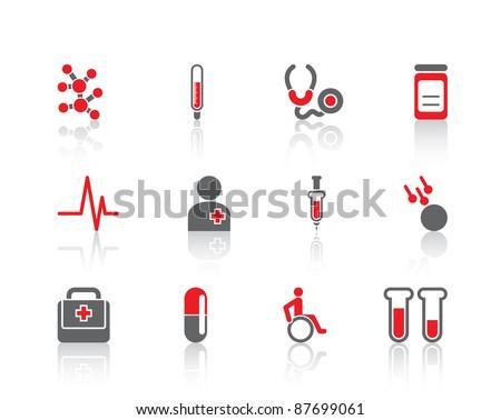 Health care medicine hospital nurse doctor set of elements logo icons - stock vector