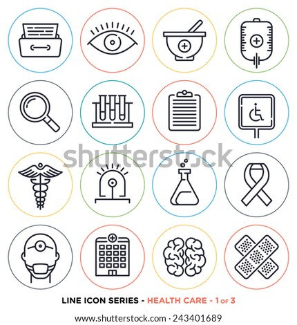Health care & medicine line icons set. Vector collection of healthy life symbols & medication equipments. - stock vector