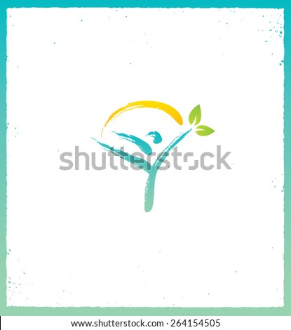 Health Care Organic Eco Vector Concept. Brush Made Person Holding Green Leaves - stock vector