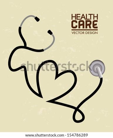 health care  over cream background vector illustration  - stock vector