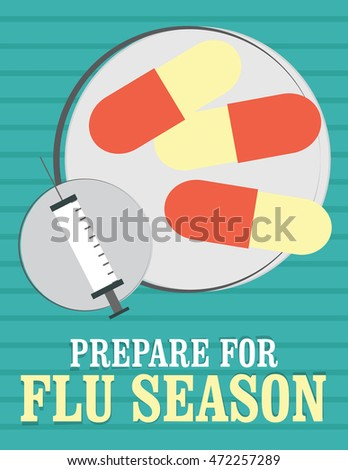 "Health care poster - pills and syringe ""Prepare for Flu Season""."