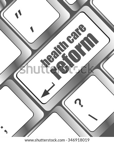 health care reform shown by health computer keyboard button  vector illustration