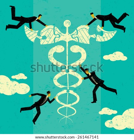 Health care Solutions A group of men putting the puzzle pieces together to find solutions for health care. The men and caduceus are on a separate labeled layer from the background. - stock vector