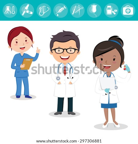 Health care team. Cheerful medical team of doctors and nurses and surgeon. - stock vector