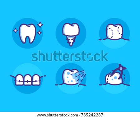 Health Dent Logo Design Vector Template Flat Line Style Dental Icons Set Different