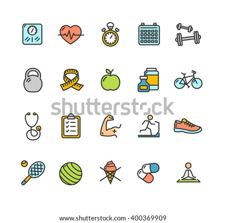 Health Fitness Icon Color Set. Vector illustration - stock vector
