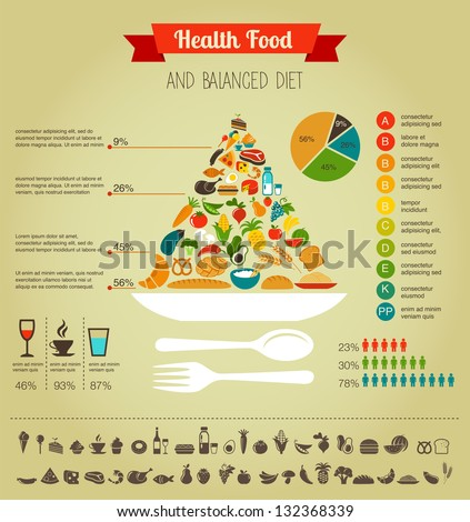 Health food infographic. Text in latin. - stock vector