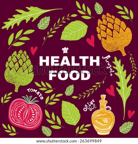 Health fresh food. Vector background with artichoke, arugula,  olive oil and tomato - stock vector