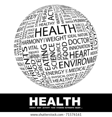 HEALTH. Globe with different association terms. Wordcloud vector illustration. - stock vector