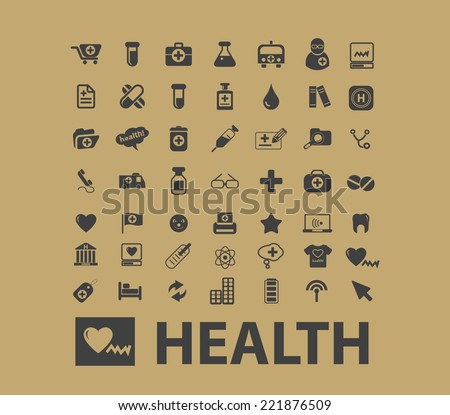 health, healthcare icons, signs, silhouettes, illustrations set, vector - stock vector