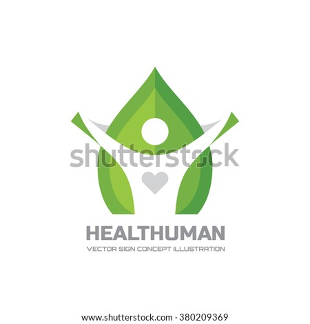 Health Human - vector logo template in flat style design. Human character sign. Leaf illustration. Healthcare creative symbol. Nature icon. Green life concept.  - stock vector