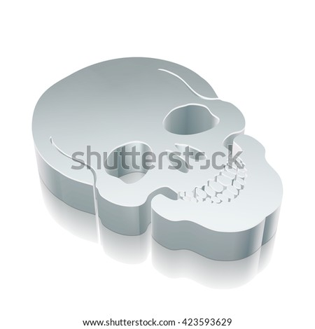 Health icon: 3d metallic Scull with reflection on White background, EPS 10 vector illustration.