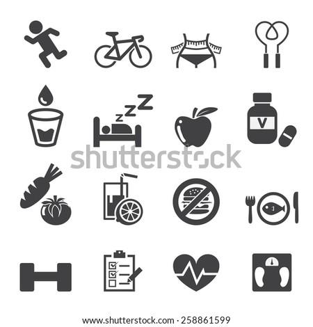 health icon set - stock vector