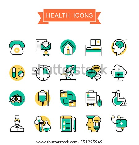 health icons collection in thin line style - stock vector