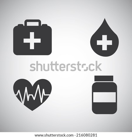 Health icons on gray background, vector illustration - stock vector