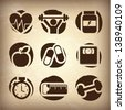 health icons over vintage background vector illustration - stock vector
