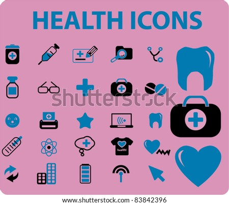 health icons, signs, vector illustrations - stock vector