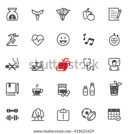 Health icons with White Background - stock vector