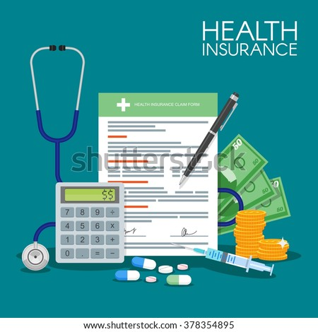 Health insurance form concept vector illustration. Filling medical documents. Stethoscope, drugs, money, calculator, syringe.