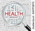 HEALTH. Magnifying glass over background with different association terms. Vector illustration. - stock photo