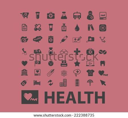 health, medicine, hospital black icons, signs, illustrations set, vector - stock vector