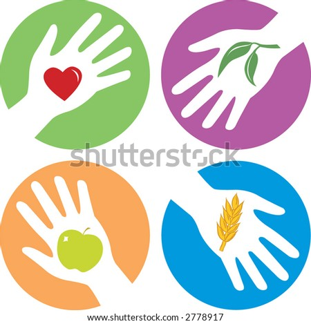 health related hands with apple, heart, wheat and plant - stock vector