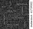 HEALTH. Seamless vector pattern with word cloud. Illustration with different association terms. - stock photo
