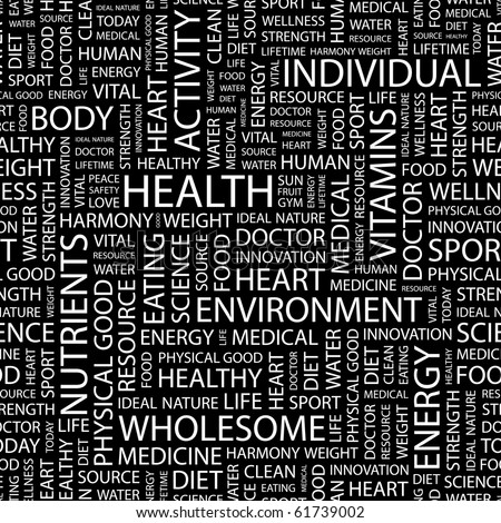 HEALTH. Seamless vector pattern with word cloud. Illustration with different association terms.