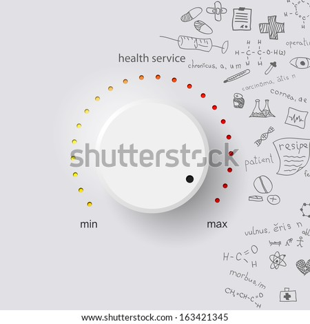health service on gray background with medical formulas - stock vector