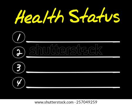 Health Status blank list concept - stock vector