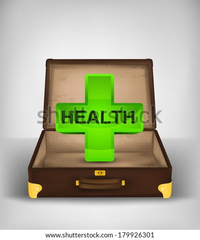 health symbol in open travel suitcase travel concept vector illustration