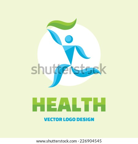 Health - vector logo design concept. Abstract man illustration. Human character. Man with green leaf. Vector logo template. Human logo. Human icon. Human character illustration. Design element.  - stock vector