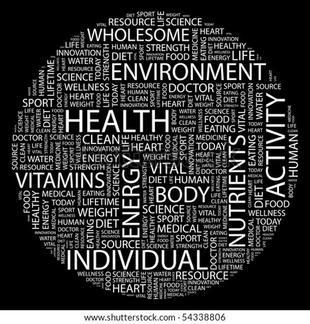 HEALTH. Word collage on black background. Vector illustration. - stock vector