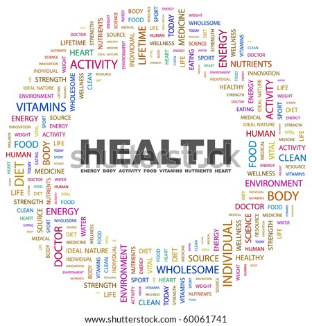 HEALTH. Word collage on white background. Illustration with different association terms. - stock vector