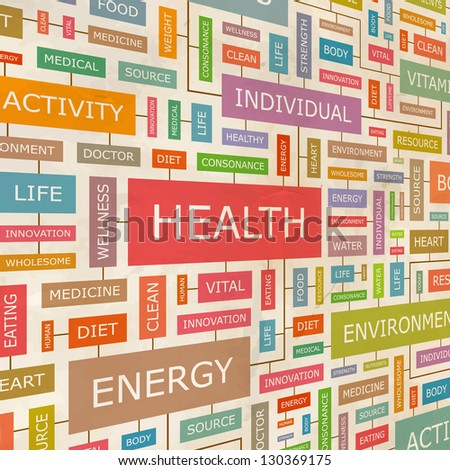 HEALTH. Word collage. Vector illustration. - stock vector