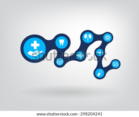 Healthcare. abstract background with connected metaball and icons for medical, health, care, medicine - stock vector