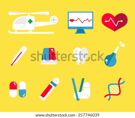 Healthcare and medical icons flat - stock vector