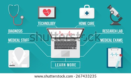 Healthcare and medical research banner, medical desktop with stethoscope, microscope, laptop, first aid kit and medical records, top view - stock vector