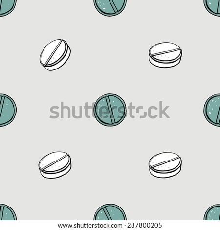 Healthcare background with tablet and aspirin. Hand drawing vector seamless texture with pharmaceutical objects isolated on white background. Chess grid order - stock vector