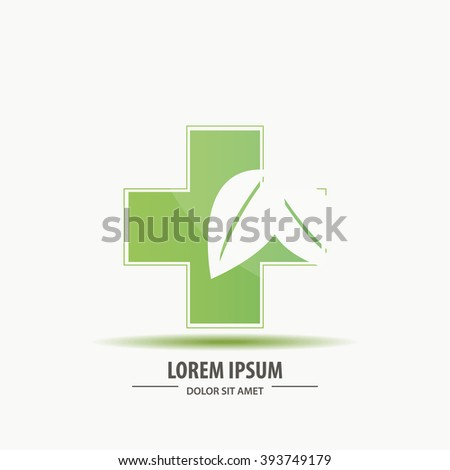 Healthcare green cross with leafs design art - stock vector