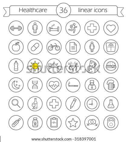 Healthcare linear icons set. Health care and medical thin line drawing symbols in circles. Active lifestyle outline pictograms. Diet and weight loss workout. Fitness and wellness vector illustrations - stock vector