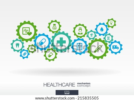 Healthcare mechanism concept. Abstract background with connected gears and icons for medical, health, care, medicine, network, social media and global concepts. Vector infographic illustration.  - stock vector