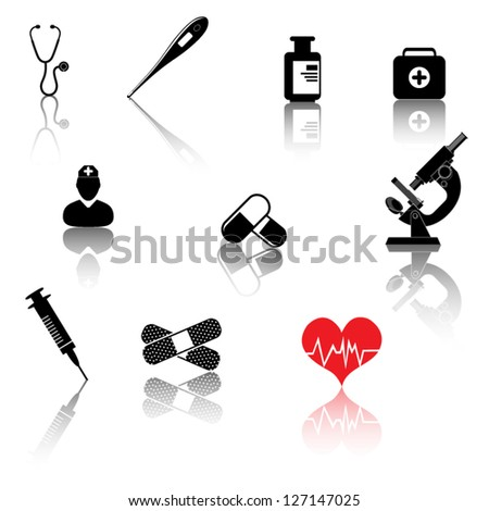 Healthcare medical cet of icons - stock vector