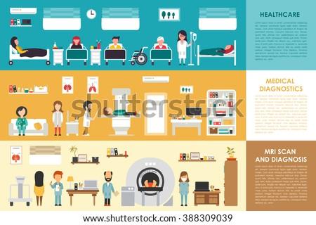 Healthcare Medical Diagnostics MRI Scan hospital interior concept web vector illustration. Doctor, Nurse, Patient, Healthcare. Medicine service presentation - stock vector