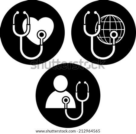 Healthcare symbols vector icons - stock vector